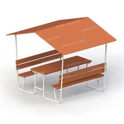 Стол со скамьями и навесом