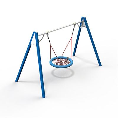 Качели на металлических стойках с оцинкованной балкой