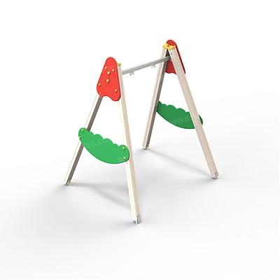 Качели на деревянных стойках с оцинкованной балкой