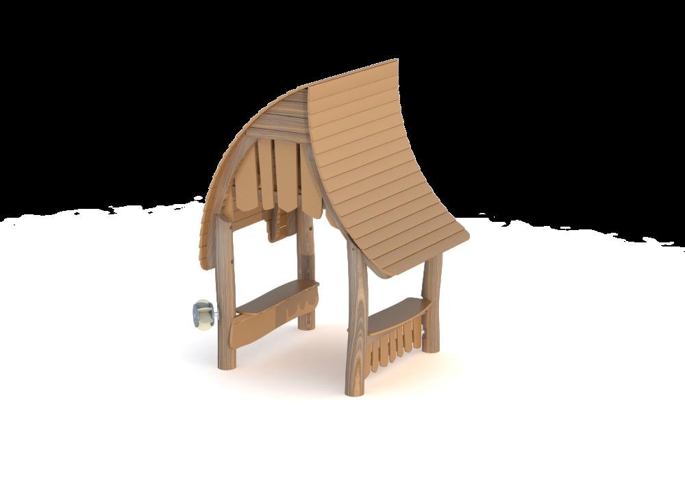 Домик из дерева с волнообразной крышей