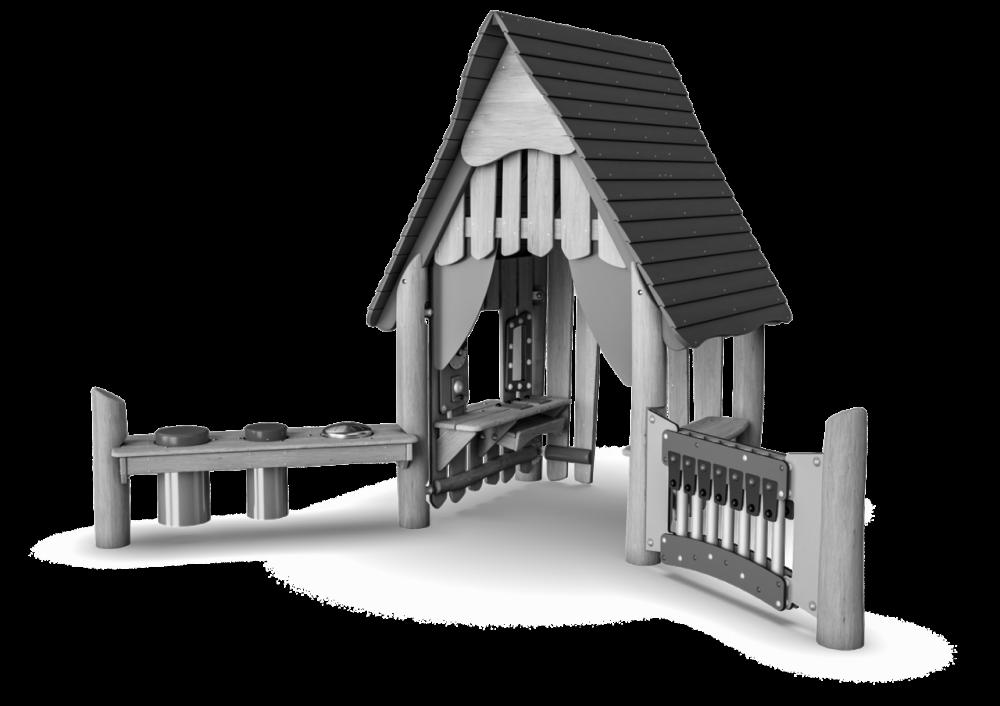 Домик из дерева с волнообразной крышей и музыкой