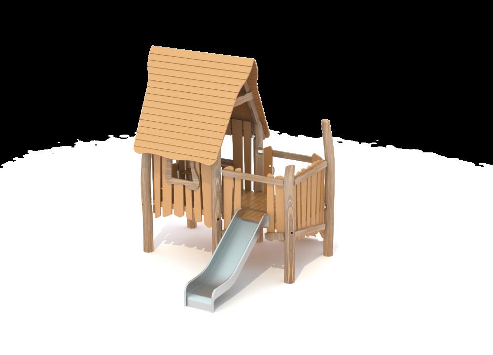 Домик из дерева с волнообразной крышей и горкой