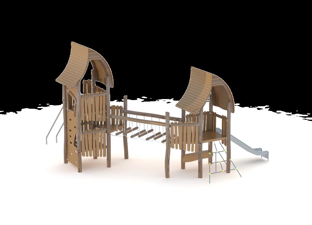 Два домика из дерева с мостом и горкой