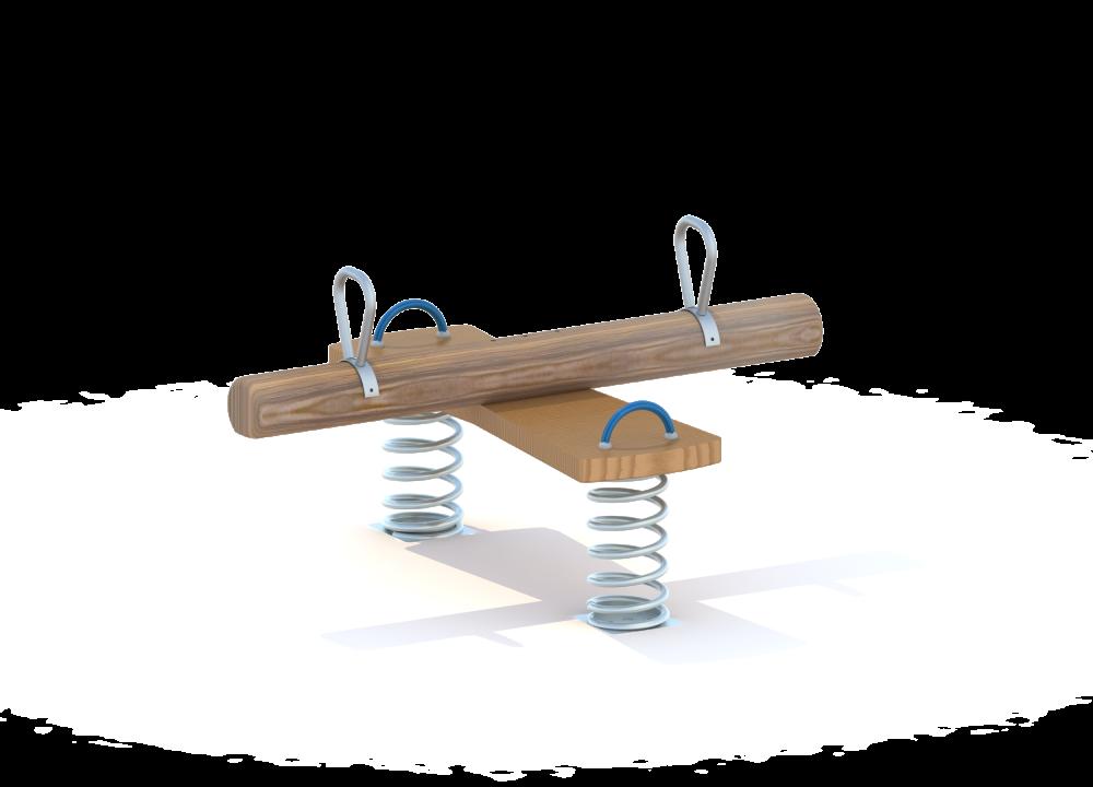 Качалка балансир на двух пружинах на бревне