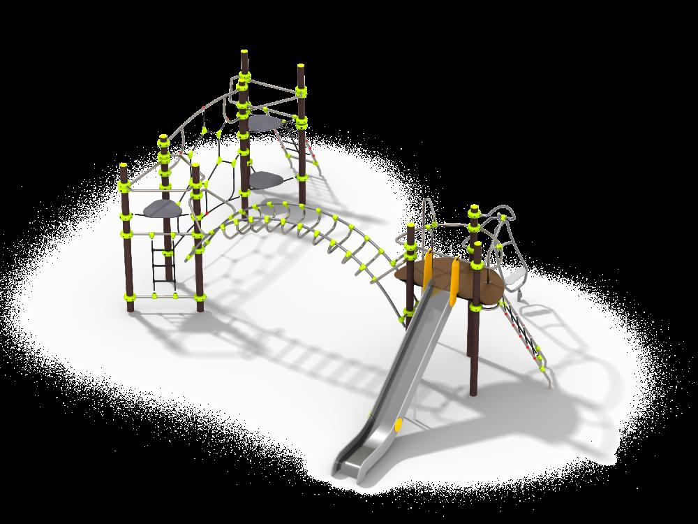 Три башни с горкой, рукоходом и сеткой цинк