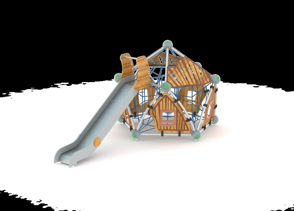 Пятиугольный домик с горкой и сеткой