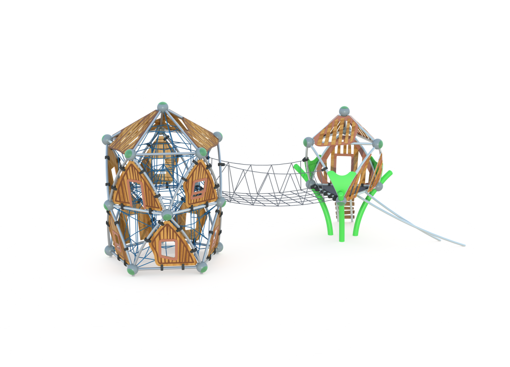 Два пятиугольных домика с мостом