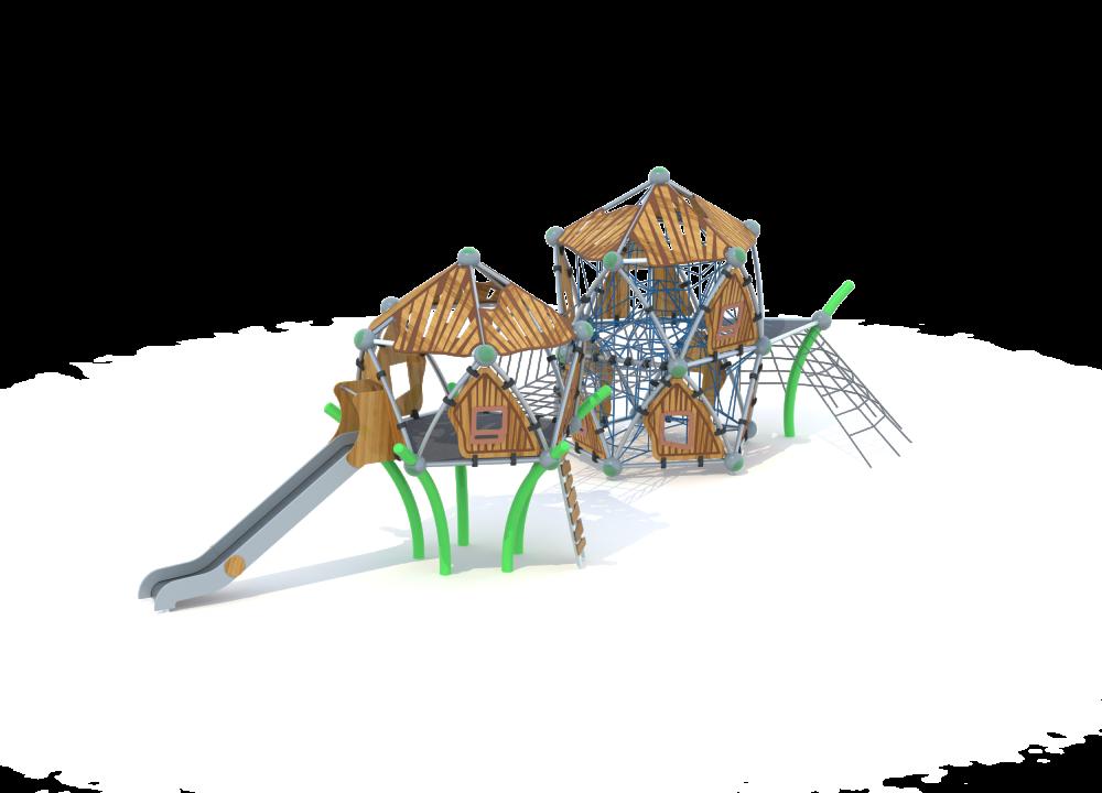 Два пятиугольных домика с горкой и мостом