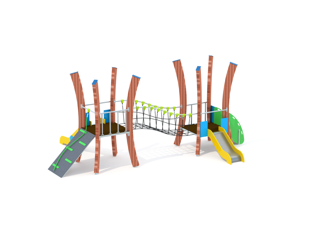 Флекс две башни с горкой и мостиком нерж