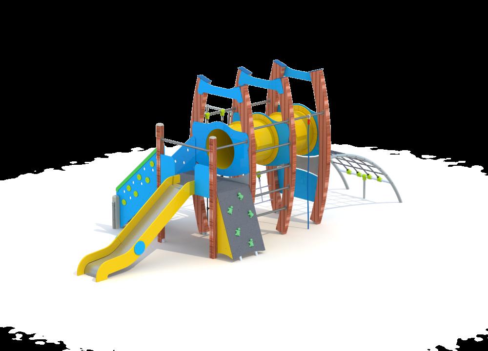 Флекс башня с туннелем и горкой нерж