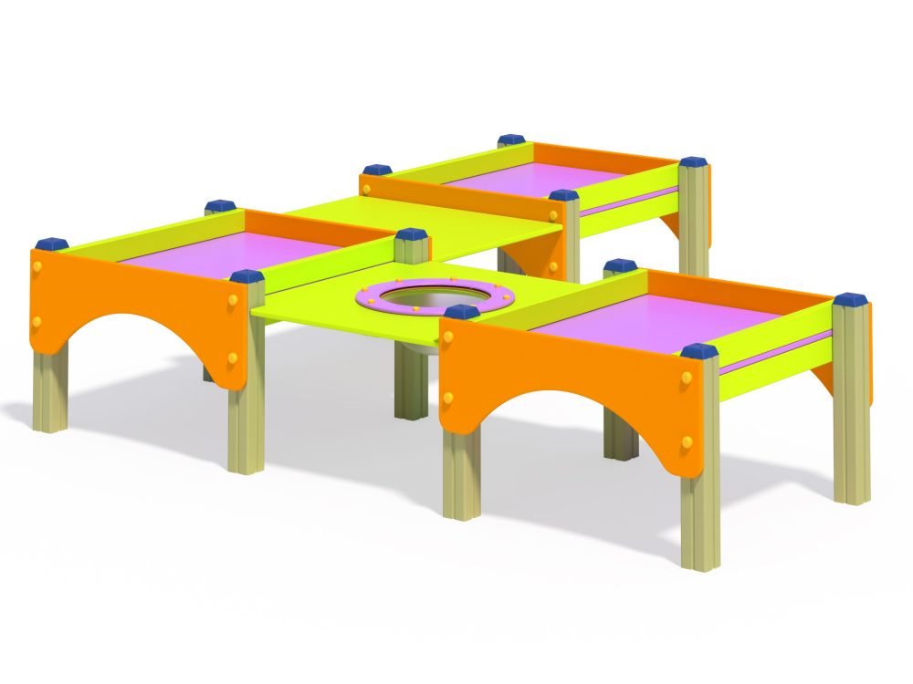 Стол-песочница тройная низкая (Цветовая схема -с26/8,32)