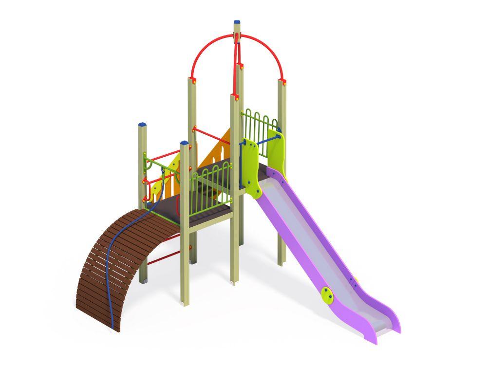 Детский игровой комплекс Горка с трапом Н=1500 (Цветовая схема -с26/8,32)