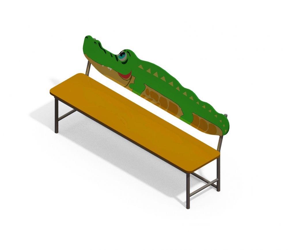 Лавочка со спинкой Крокодил (-Цветовая схема)