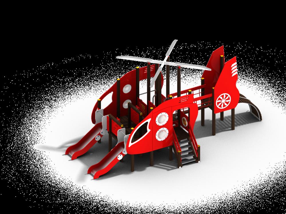 Детский игровой комплекс Вертолет с двумя горками