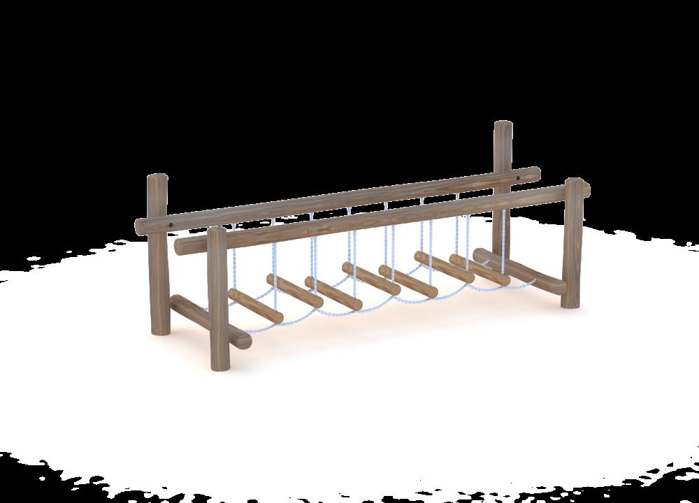 Подвесной мостик на бревнах
