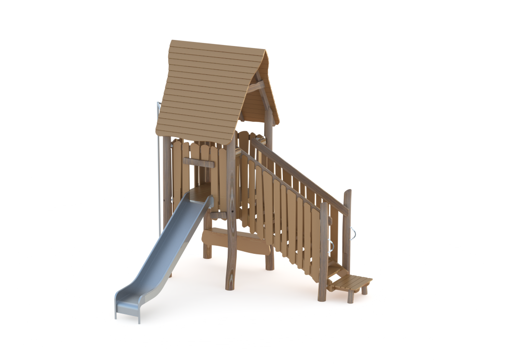 Домик с горкой и лестницей 1200 мм