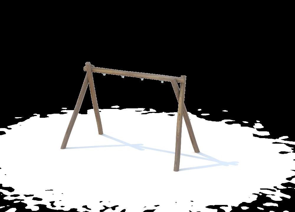 Рама одинарная из бревен для качелей с 2 сидениями