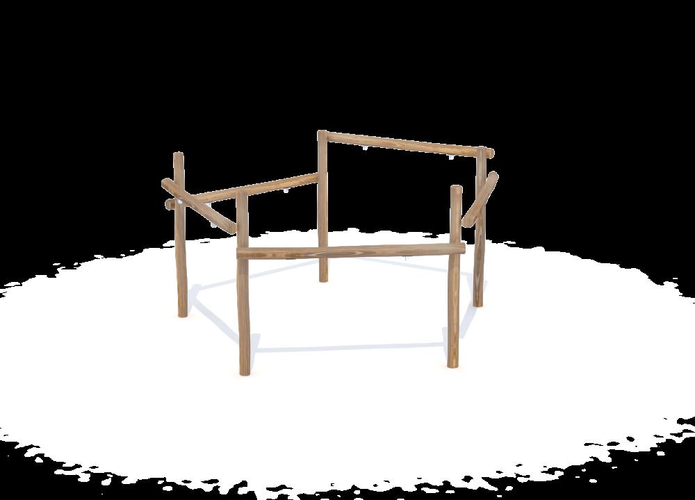 Рама качелей для 5 сидений на бревнах